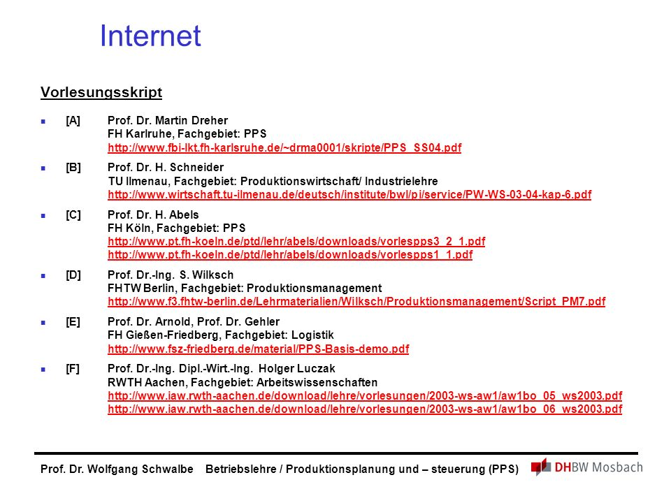 Internet Vorlesungsskript [A] Prof. Dr. Martin Dreher